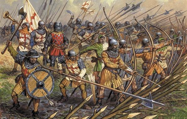 Picture grass, earth, war, armor, art, swords, spears, banners, infantry, Luke, centennial, sharpened stakes, halberds, battle …