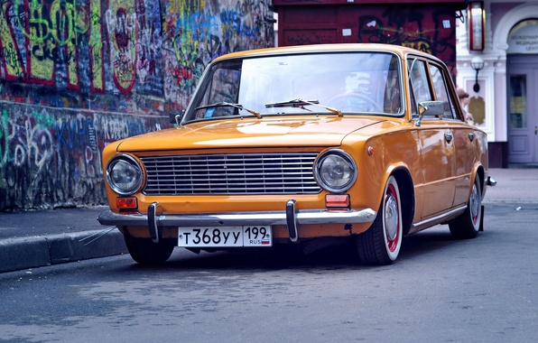 Picture road, background, Wallpaper, graffiti, penny, Lada, vaz, Lada, 2101, resto, low classic