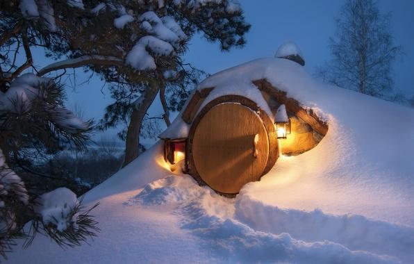 Picture snow, Winter, Nora, the door, lights