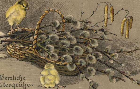 Picture branches, chickens, picture, art, wallpaper, painting, basket, vintage, kidney, Verba, vintage, vintage, postcard, painting, FR., ...