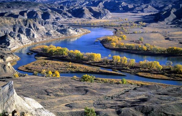 Picture mountains, nature, river, Montana's Missouri River