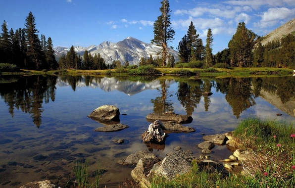 Picture clouds, trees, mountains, lake, stones, fresh air, clear water