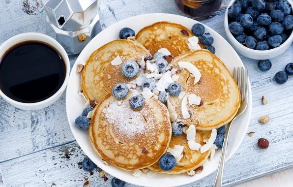 Picture coffee, Breakfast, blueberries, pancakes, pancake