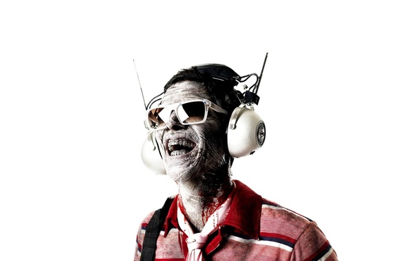 Picture emotions, teeth, headphones, glasses, glamorous