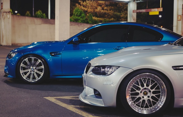 Picture coupe, BMW, white, sports car, side, blue