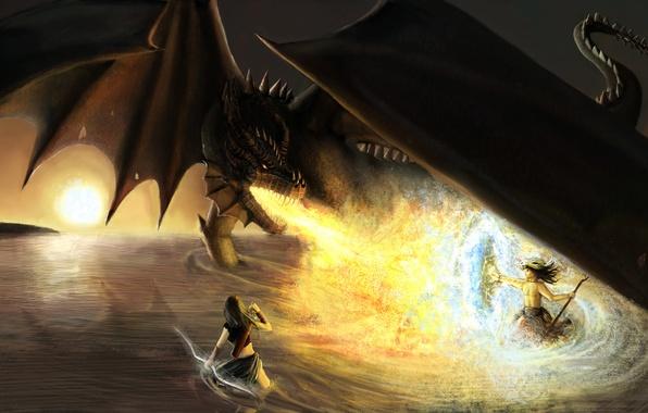Picture weapons, fiction, fire, dragon, wings, sword, art, shield, warriors, fire-breathing