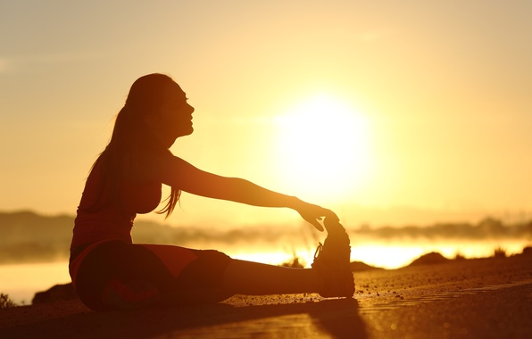 Picture woman, sunset, silhouette, training, Elongation
