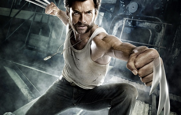 Picture metal, hero, claws, Wolverine, fists, X-Men: The Beginning, Hugh-Jackman