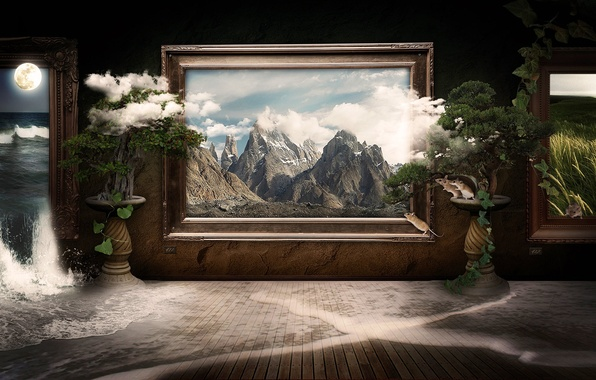 Picture clouds, landscape, mountains, nature, room, collage, the moon, frame, waterfall, picture, frame, gallery, pictures, mouse