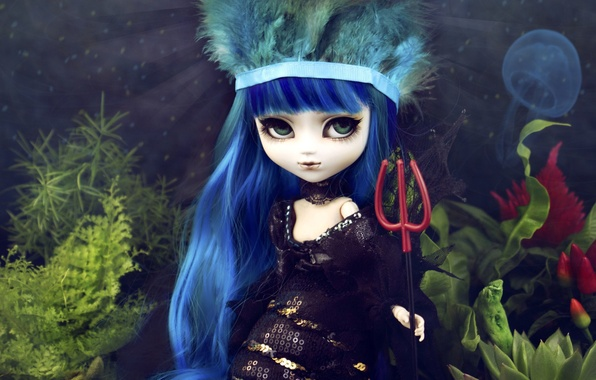 Picture look, water, algae, toy, mermaid, Medusa, doll, Trident, blue, long hair
