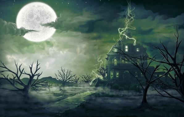 Picture trees, landscape, night, fog, house, magic, the moon, art, gloom, digitalinkrod