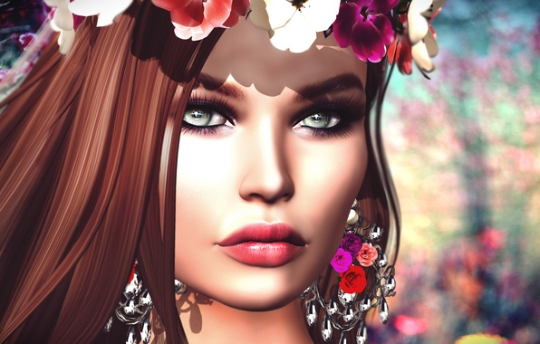Picture eyes, girl, flowers, face, lips