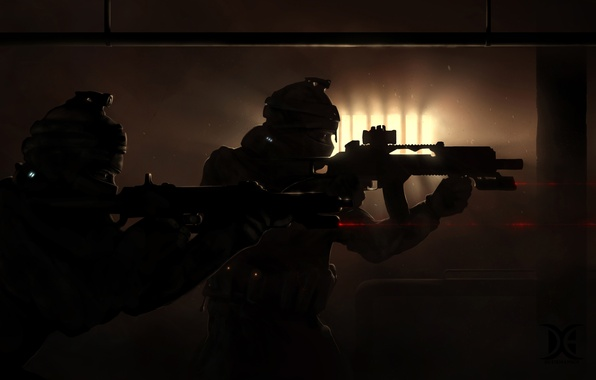Picture guns, soldiers, darkness, special forces