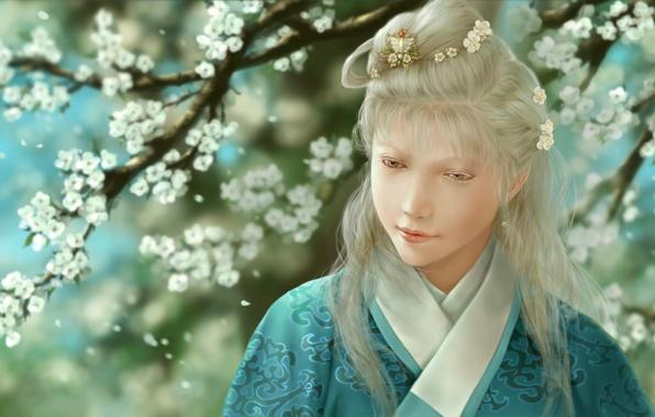 Picture girl, flowers, art, kimono, barrette, albino, dtjun