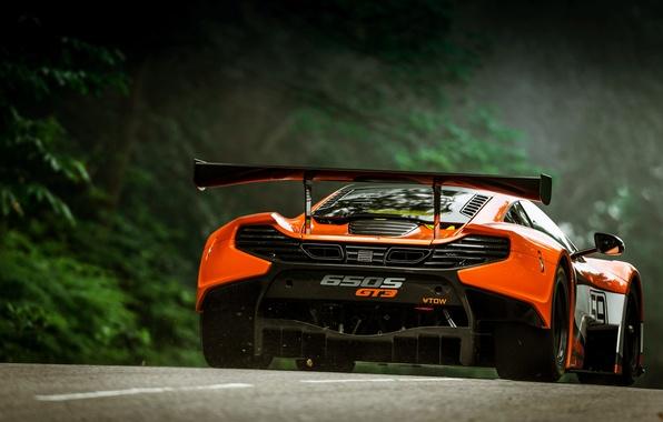Picture McLaren, Auto, Orange, GT3, Supercar, Sports car, Rear view, 650S, Wing