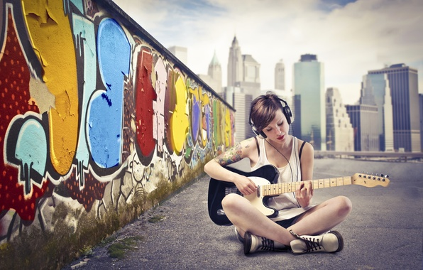 Picture the sky, asphalt, girl, the city, wall, graffiti, guitar, headphones, t-shirt