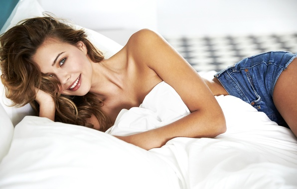 Picture girl, bed, lies, beautiful, Sandra Kubicka