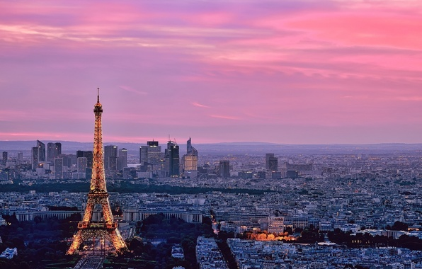 Picture the sky, the city, building, tower, Paris, home, horizon, France, street, Eiffel