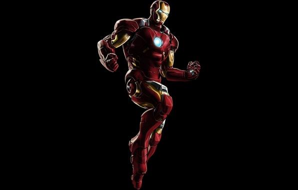 Picture metal, red, armor, Iron Man, pose, suit, uniform