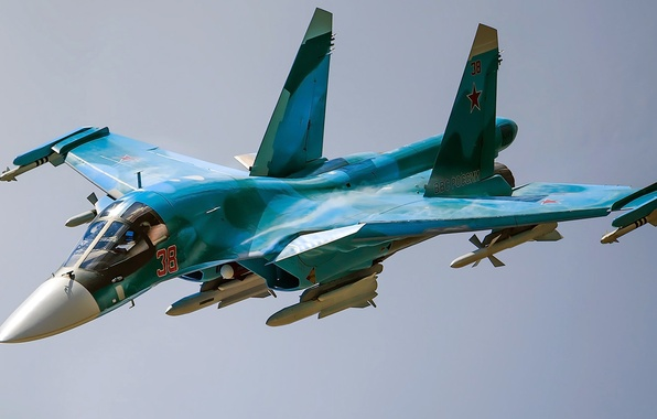 Picture The plane, bomber, Fullback, Su-34, Sukhoi, Videoconferencing Russia, Russian multi-role fighter-bomber