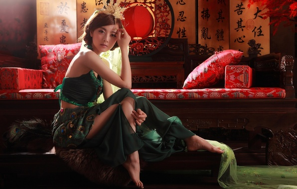Picture girl, Asian, decor, national, ethno