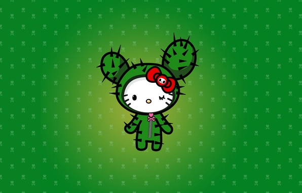 Picture cactus, barb, green, Hello Kitty, heart.