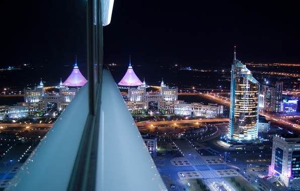 Picture night, the city, fog, view, home, Astana