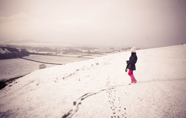 Picture winter, girl, snow, photo, girls, mood, hills, mood, walk