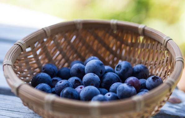 Picture berries, table, basket, blueberries, blueberries, Blueberries