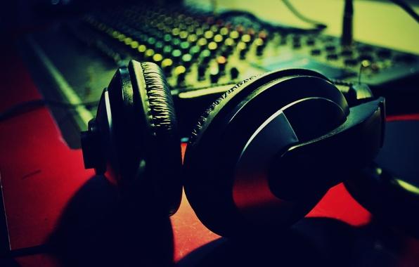 Photo wallpaper blur, hi-tech, sound, headphones, music