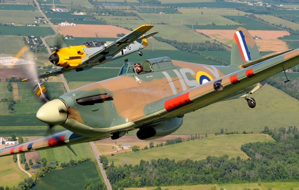 Picture flight, retro, the plane, landscape, fighter, pair, pilot