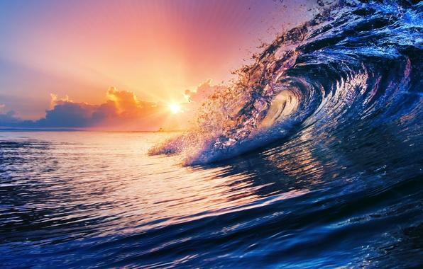 Picture sea, water, sunset, the ocean, wave, sky, sea, ocean, blue, splash, wave