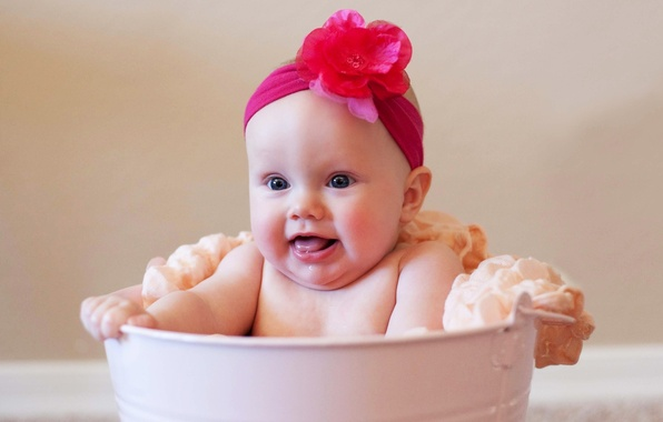 Picture flower, pink, sweetheart, child, girl, bucket, baby, the dough