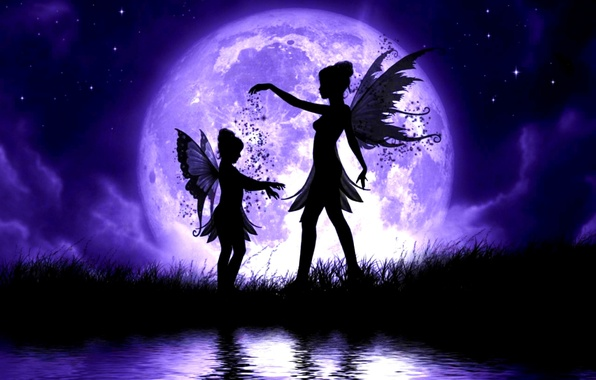 Picture the sky, grass, water, girl, stars, clouds, night, lake, the moon, child, wings, fairies