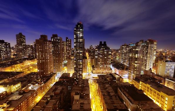 Picture light, night, the city, New York, street, new york