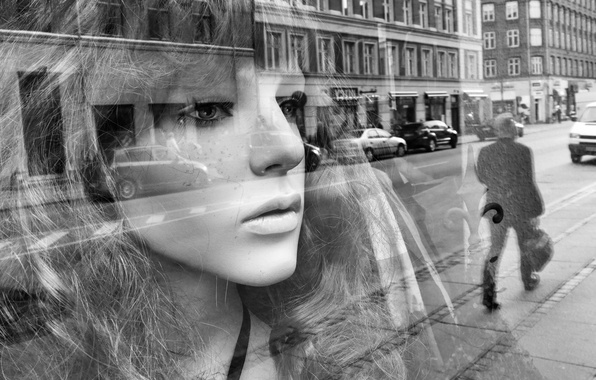 Picture eyes, glass, girl, face, reflection, hair, mirror, lips, cars, street, men's, city