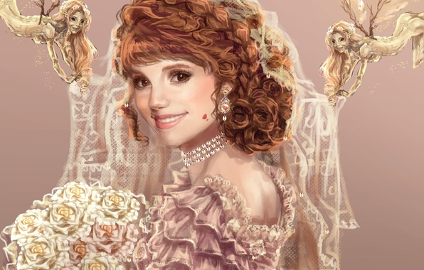Picture look, girl, smile, bouquet, dress, art, painting, the bride, Sillselly