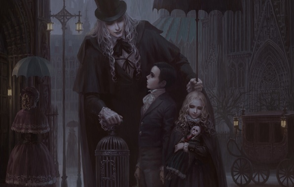 Picture children, Gothic, cell, doll, umbrella, lights, male, coach