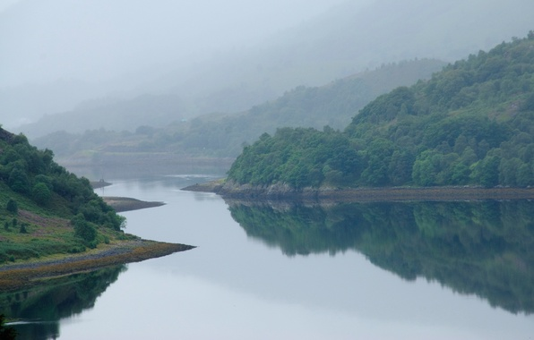Picture the sky, water, mountains, fog, river, Scotland
