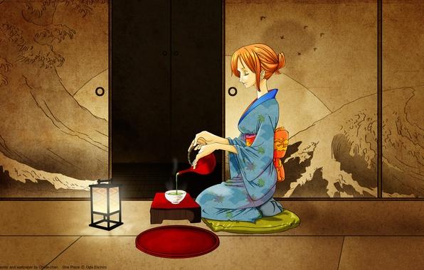 Picture room, tea, kimono, nami, one piece, Japanese Oded