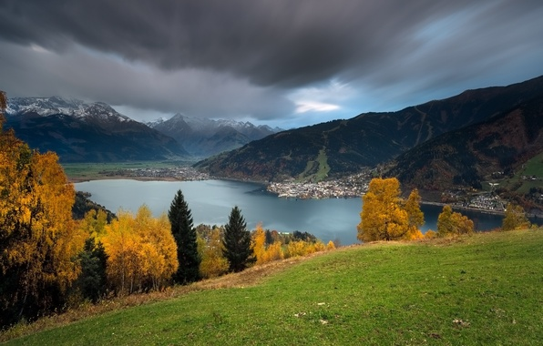 Picture autumn, trees, mountains, lake, Austria, Alps, panorama, Austria, Alps, lake Zell, Zell am see, Zell …