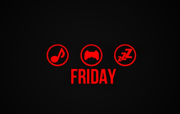 Picture music, play, sleep, friday