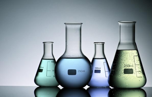 Picture liquids, colored liquids, test tubes