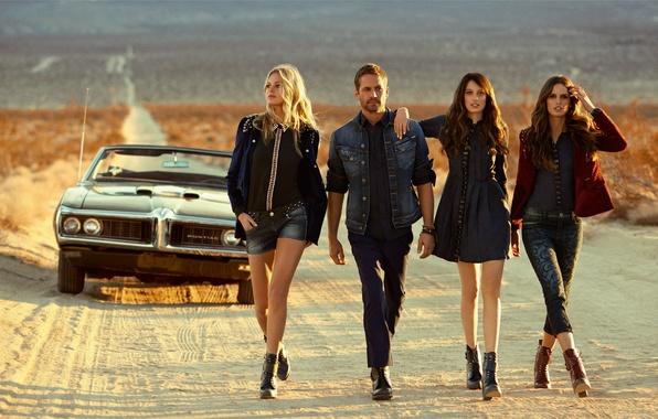 Picture road, machine, desert, Paul Walker, Erin Heatherton, Izabel Goulart, Thairine Garcia