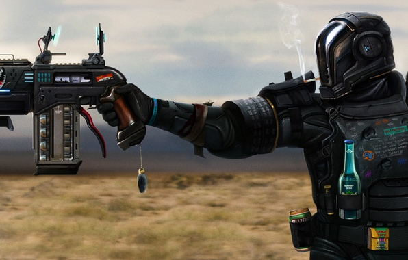 Picture gun, desert, bottle, sword, soldiers, cigarette, Bank, helmet, armor, smokes, ponytail, rabbit, mercenary, good luck