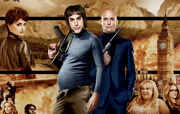 Picture gun, weapons, background, England, tower, machine, action, poster, Penelope Cruz, muffler, Kalashnikov, Penelope Cruz, Comedy, …