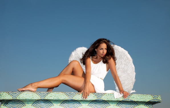Picture look, girl, pose, white, hair, wings, hands, dress, legs, blue sky