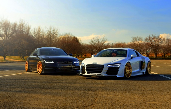 Picture Audi, white, black, vossen wheels