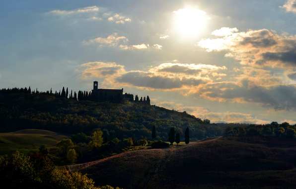 Picture the sun, clouds, trees, house, Italy, Tuscany