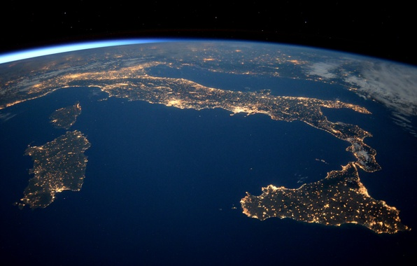 Picture space, earth, Italy